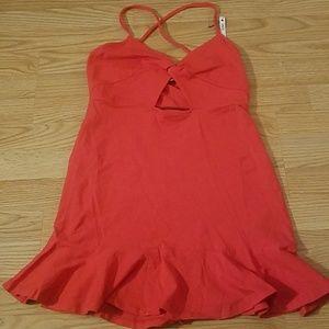 Coral keyhole crisscross dress